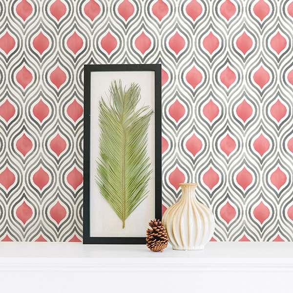 papier peint plume couleur corail colobar peinture. Black Bedroom Furniture Sets. Home Design Ideas