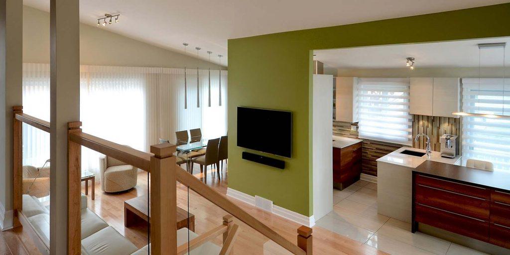 Une cuisine moderne au centre d 39 une aire ouverte blog de colobar peinture d coration - Couleur cuisine salon air ouverte ...