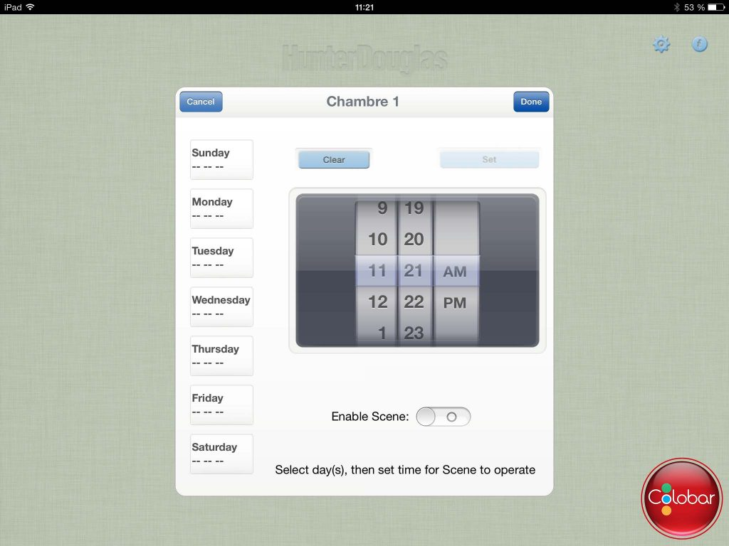 La minuterie de l'Application Platinum permet de programmer à l'avance différentes scènes pour différentes pièces