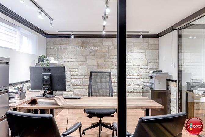 Bureau à domicile cloisons vitrées de colobar peinture