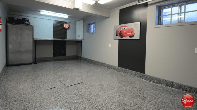 Plancher de garage époxy full flake
